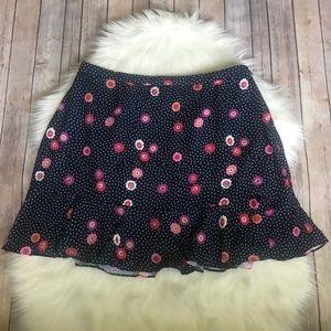 New Modcloth blue white polka dot floral skirt